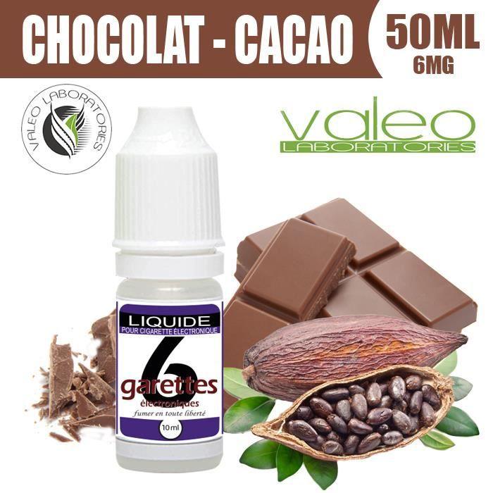 E LIQUIDE 50ML – CHOCOLAT-CACAO 6mg DE NICOTINE - 6GARETTES