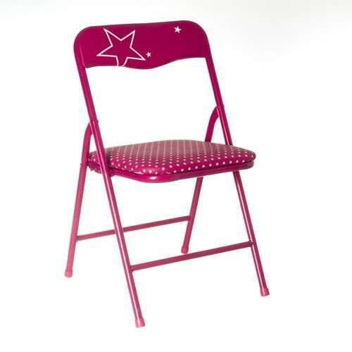 chaise pliante enfant m tal fuchsia achat vente chaise rose cdiscount. Black Bedroom Furniture Sets. Home Design Ideas