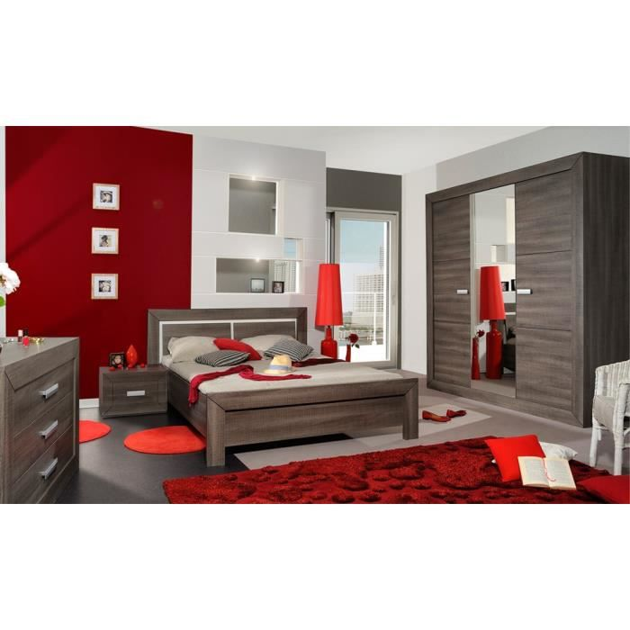 chambre compl te adulte 140 190 gris fonc romeo l 140 x l 190 x h 90 achat vente. Black Bedroom Furniture Sets. Home Design Ideas