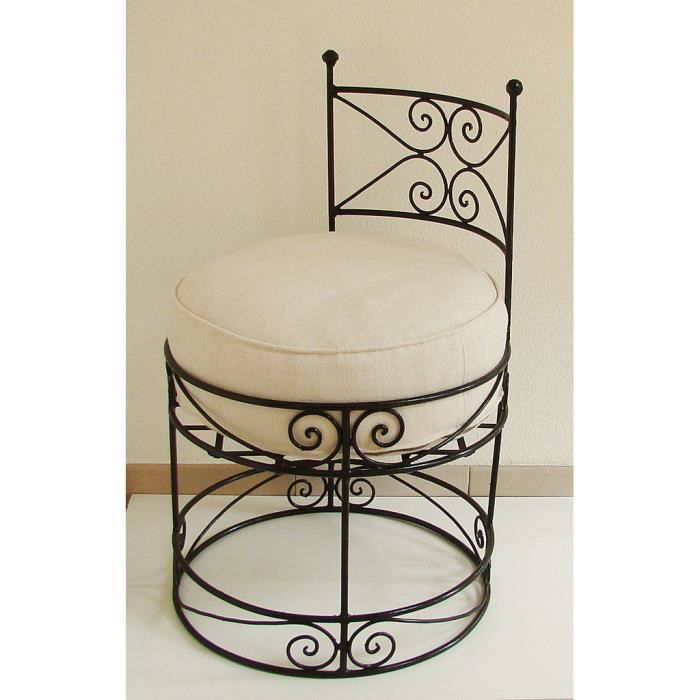 fauteuil pouf marocain en fer forg plein large assise. Black Bedroom Furniture Sets. Home Design Ideas