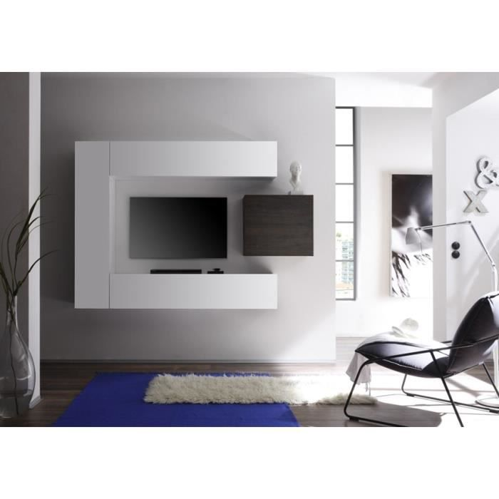 ensemble meuble tv mural design blanc et weng clia. Black Bedroom Furniture Sets. Home Design Ideas