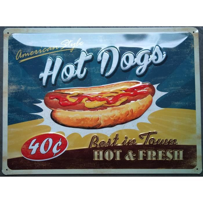 Plaque pub bomb hot dog diner usa cuisine loft achat for Decoration murale usa