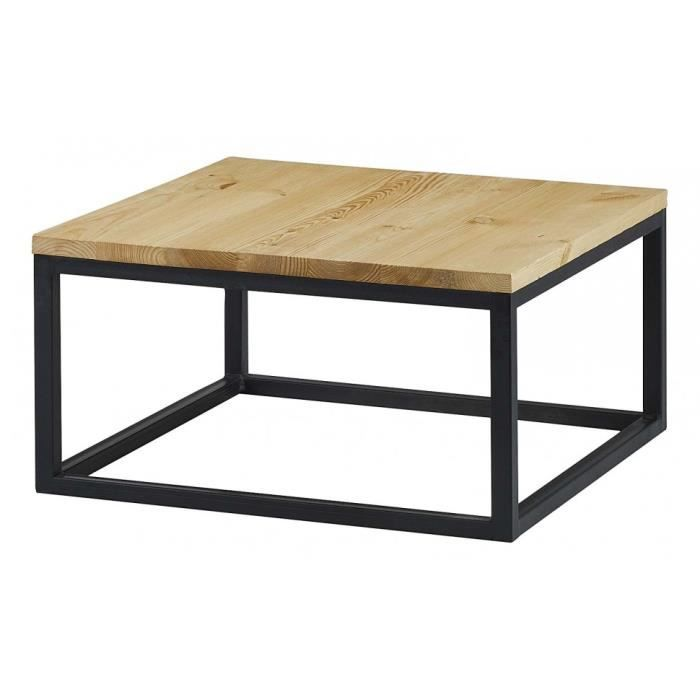 Table basse carr e bois et m tal achat vente table basse table basse carr - Table basse carree but ...