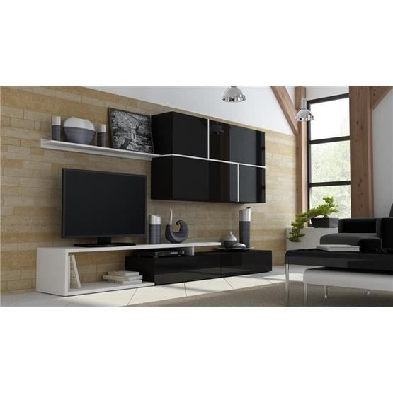 ensemble meuble tv design roya noir et blanc composition. Black Bedroom Furniture Sets. Home Design Ideas