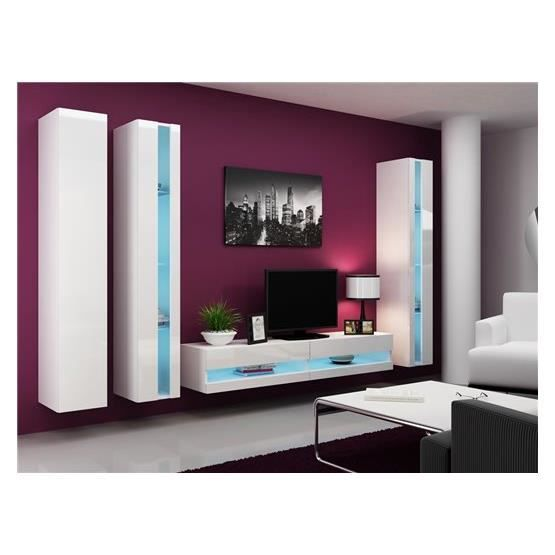 Ensemble meuble tv mural alarmo blanc achat vente for Meuble mural occasion