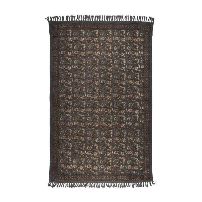 tapis vintage indian block gris dimensions 120x180 cm achat vente tapis cdiscount. Black Bedroom Furniture Sets. Home Design Ideas