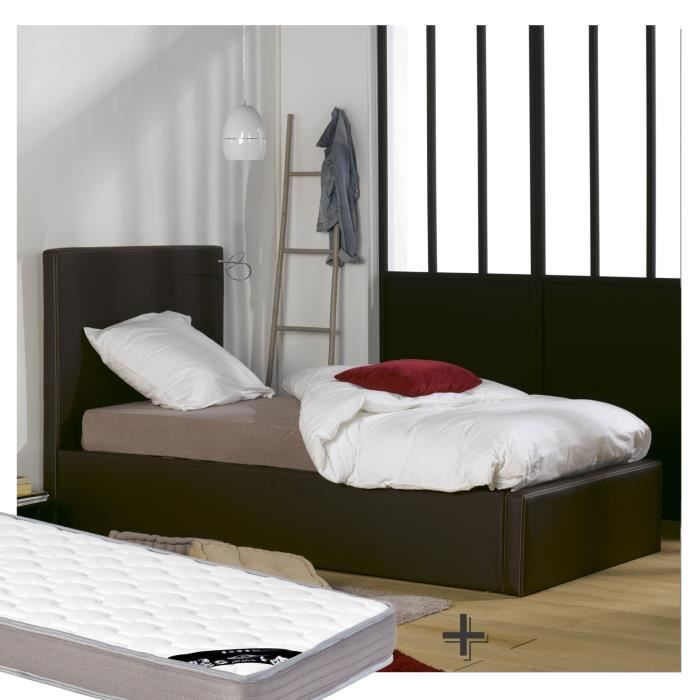 lit coffre 90x200 matelas similicuir marron achat. Black Bedroom Furniture Sets. Home Design Ideas