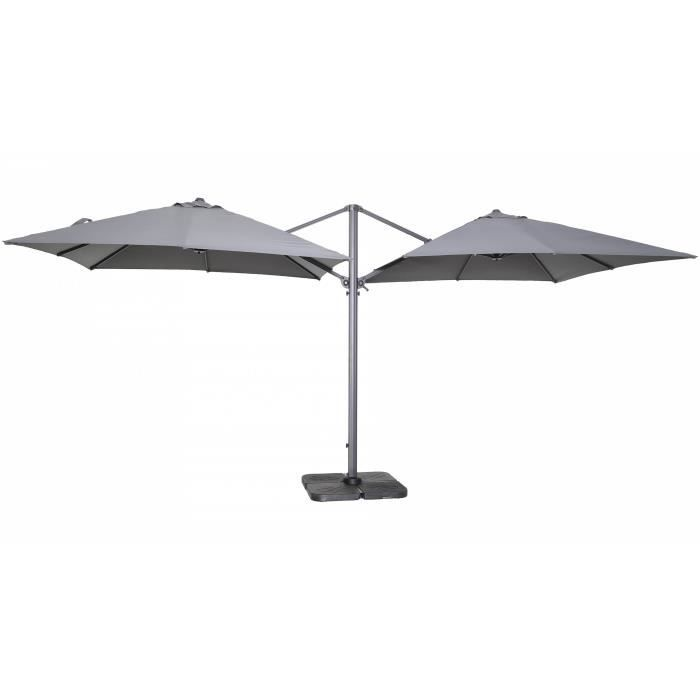 double parasol d port carr en aluminium gris achat vente parasol double parasol d port. Black Bedroom Furniture Sets. Home Design Ideas
