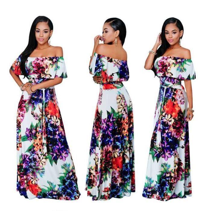 Robe Longue Grande Taille Femme Chic 2018 Printemps Ete Style Boheme Volants Impression Sexy 156 Bleu Achat Vente Robe Cdiscount