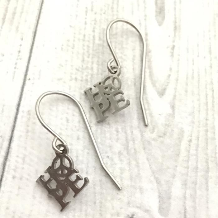 Womens Hope Charm Earrings, Surgical Steel Earwire XLDLU