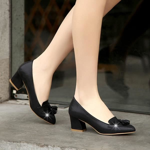 Escarpin Noir 6 Mode Tassel Simple Toe Chunky mi Pointu talon Asakuchi bureau Carrière Chaussures Degdii