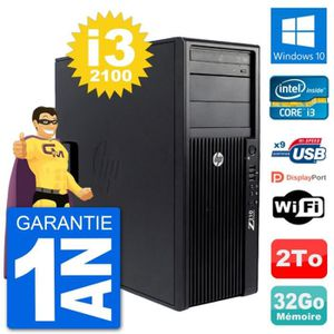 ORDI BUREAU RECONDITIONNÉ PC Tour HP Z210 Intel Core i3-2100 RAM 32Go Disque