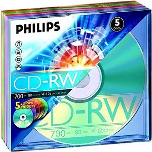 CD - DVD VIERGE Philips - Pack CD-RW - 700 Mo - 4-12x - 5 pièces e