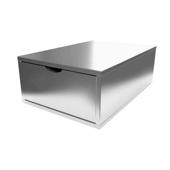Cube de rangement profondeur 75 cm + tiroir Bois - Couleur - Gris Aluminium