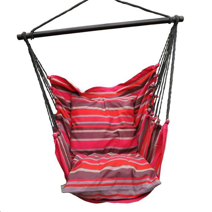 Fauteuil Suspendu - Hamac Chaise - Modèle Adulte/Couple - Avec 2 housses de coussin - Rose - Maxi 140 kg
