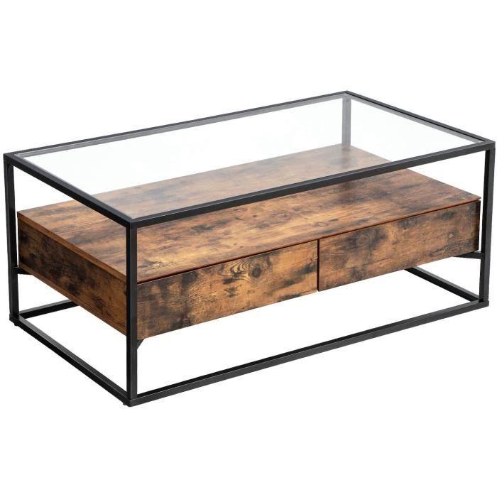 Table basse industriel verre bois et acier 106 x 57 cm 12_0001000