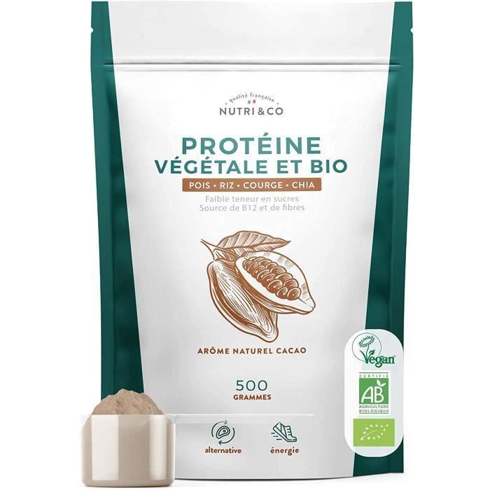 Protéine Vegan BIO - 4 Sources : Pois, Riz, Chia et Courge - Alternative à la Whey - Riche en BCAA - Mélange Onctueux sans Grume31