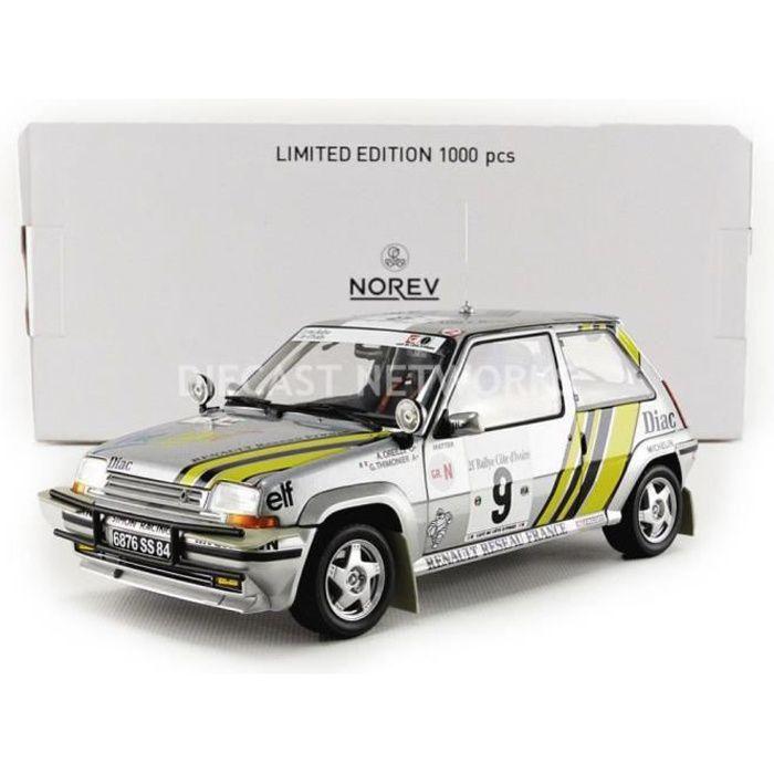 Voiture Miniature de Collection - NOREV 1/18 - RENAULT 5 GT Turbo - Rallye de Cote Ivoire 1989 - Silver - 185198