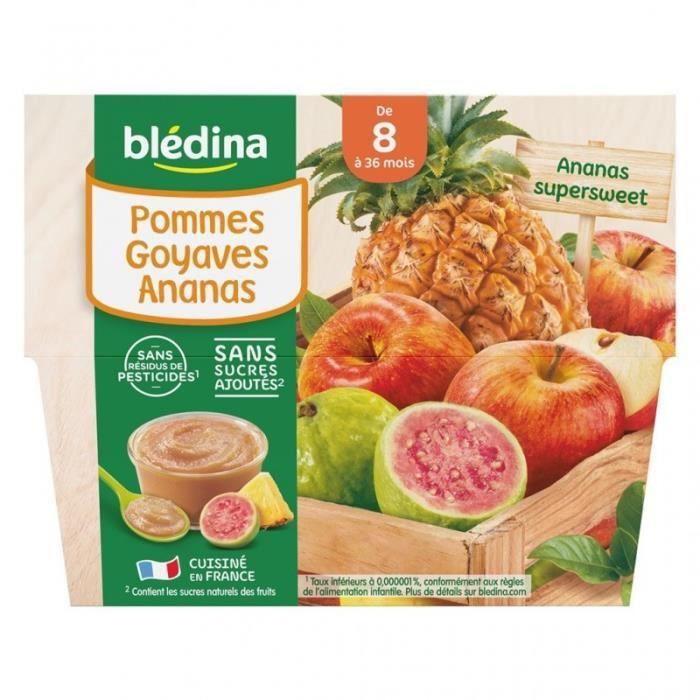 Blédina Pommes Goyaves Ananas (de 8 mois à 36 mois) par 4 pots de 100g (lot de 6 soit 24 pots)