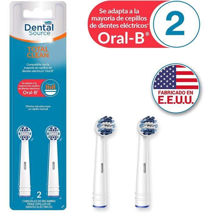 Brossettes de rechange Dental Source Dental Source Total Clean Pack de 2 têtes de rechange compatibles avec Oral-B 2 uni 665621