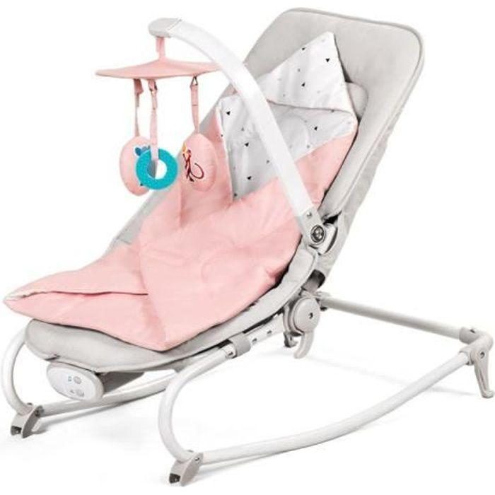 Kinderkraft Felio 2en1 Transat balancelle siège enfant bébé rose