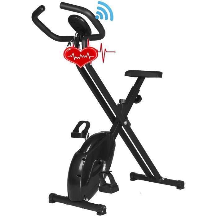 Vélo d'appartement X-bike pour la maison avec hauteur de siège réglable, vélo de siège pliable avec mesure de la fréquence cardi39