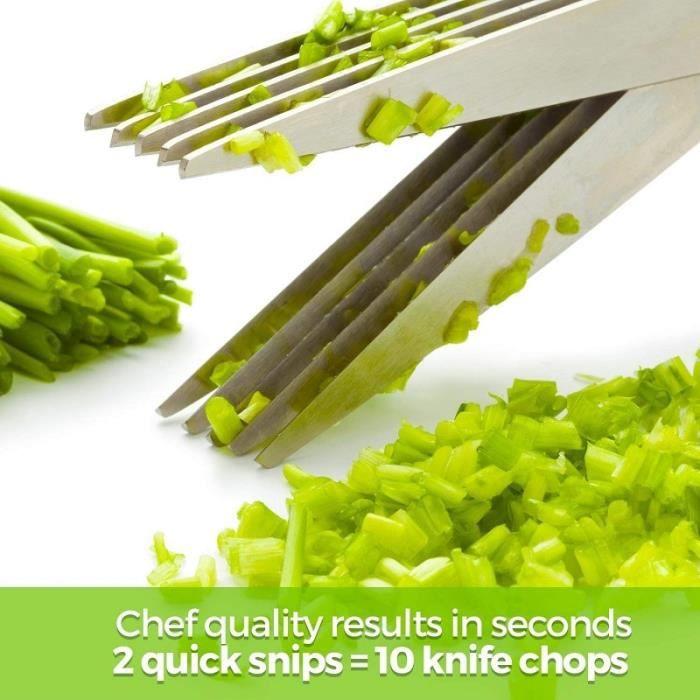 Couteau à trancher,Ciseaux coupe légumes manuel en acier inoxydable Pour 5 couches échalote râpée, ciseaux à herbes, couteaux de