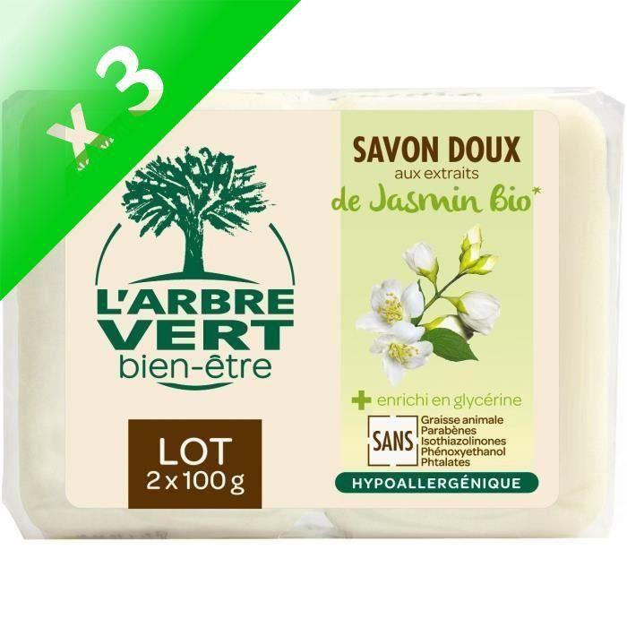 L'Arbre Vert Bien-être Savon Jasmin Bio - 2 x 100 g (Lot de 3)
