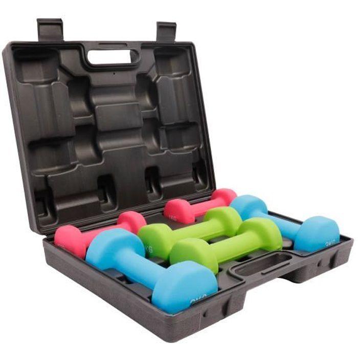 GORILLA SPORTS® Coffret d'haltères aérobic de 12 kg - haltères en fonte avec revêtement néoprène