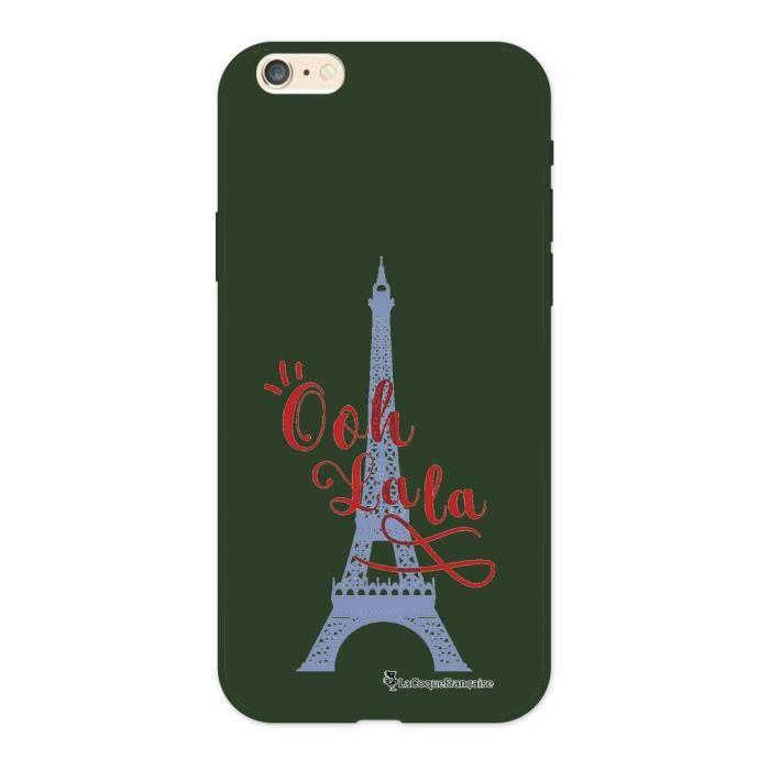 Coque iPhone 6/6S Silicone Liquide Douce vert kaki Tour Eiffel Oh La La Ecriture Tendance et Design La Coque Francaise.