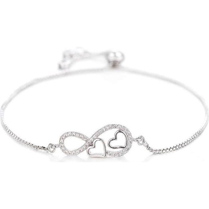 Bracelet Femme Infini et Coeur Premium V2 Argenté
