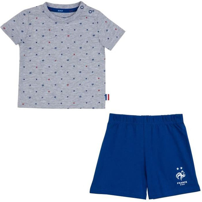 Ensemble t-shirt + short bébé garçon FFF - Collection officielle Equipe de France de Football