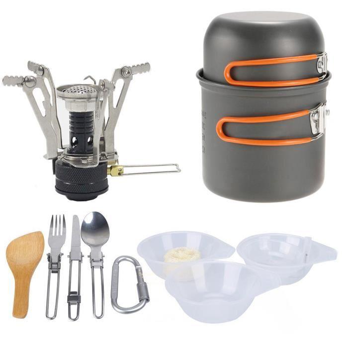 Camping Batterie de cuisine d'extérieur Faire cuire Ensemble réchaud léger pique-nique Mini portable de cuisine orange