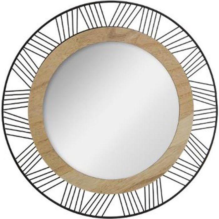Miroir Rond en Métal & Bois -Joe- 45cm Noir