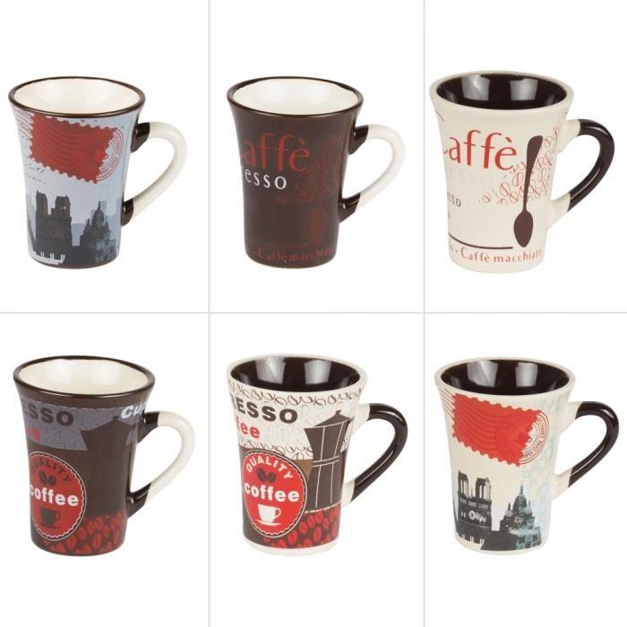 Tasses à café 15 cl bistrot assorties (lot de 6) - Table Passion Multicolore