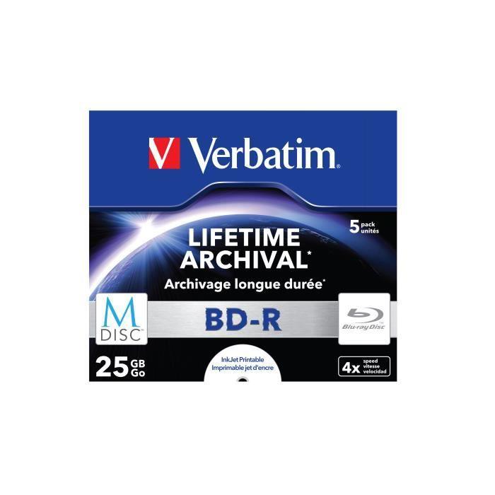 Verbatim M-Disc 4x, BD-R, 25 Go, 4x, Coffret à bijoux, 5 pièce(s)
