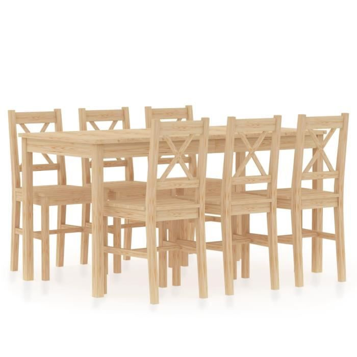 Table A Manger En Bois Massif Avec 6 Chaise Achat Vente Pas Cher