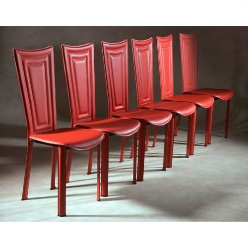 6 chaises de salle a manger rouge achat vente chaise mati re de la structure m tal cdiscount. Black Bedroom Furniture Sets. Home Design Ideas