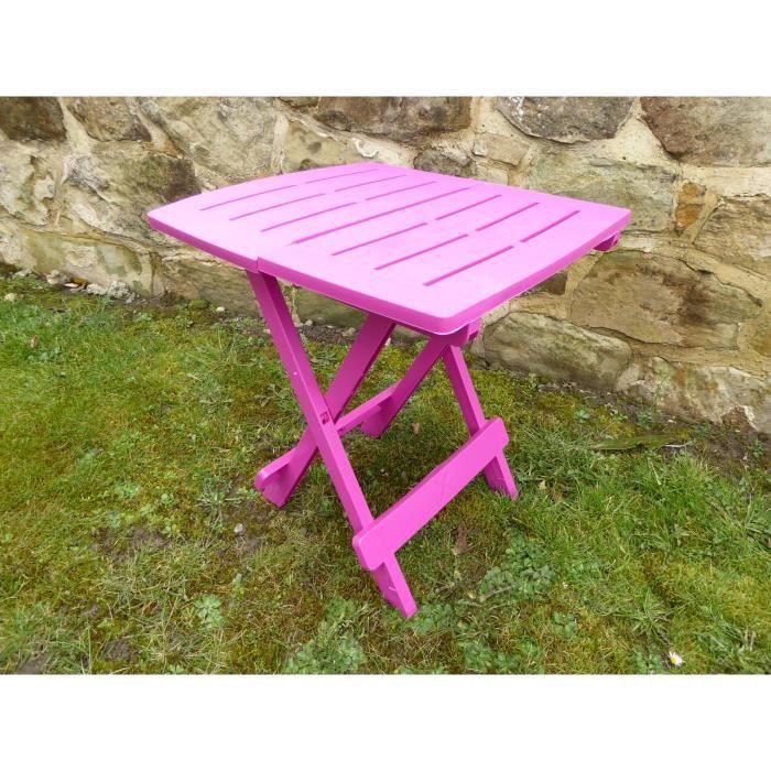 Table de jardin en plastique de résine rose UK-Gardens