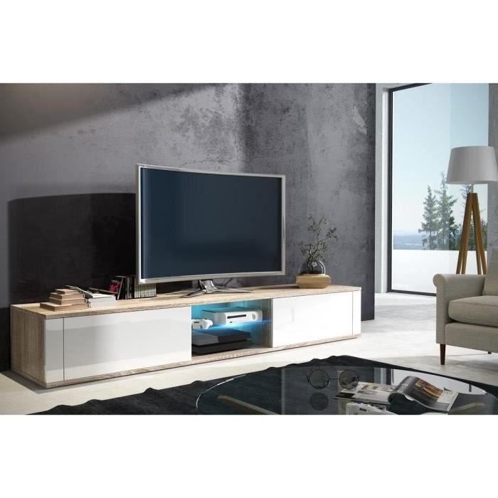 meuble tv el gant sonoma clair blanc brillant avec led. Black Bedroom Furniture Sets. Home Design Ideas