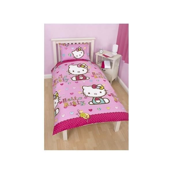 housse de couette hello kitty 1 pers achat vente housse de couette cdiscount. Black Bedroom Furniture Sets. Home Design Ideas