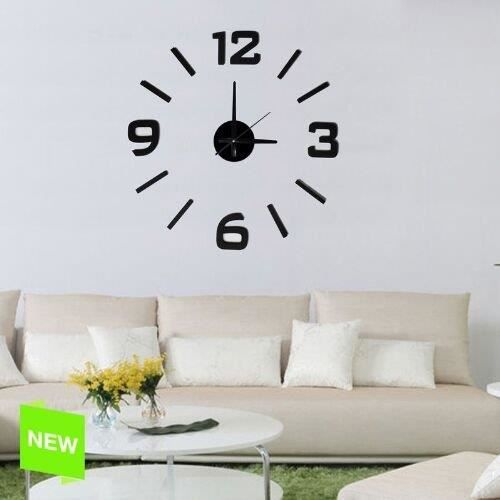 horloge murale auto adh sive noir achat vente horloge horloge murale auto adh siv moins. Black Bedroom Furniture Sets. Home Design Ideas