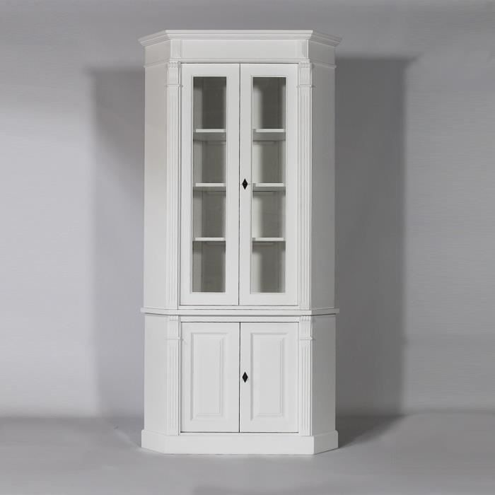 meuble d 39 angle en bois massif lavandou blanc blanc. Black Bedroom Furniture Sets. Home Design Ideas