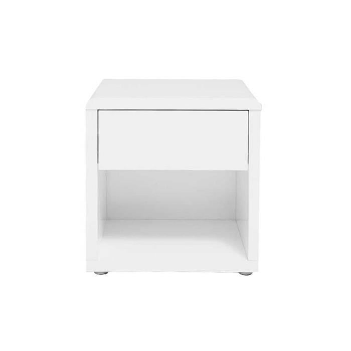 Miliboo table de nuit design laqu e blanche e achat vente chevet milib - Table de chevet blanche ...