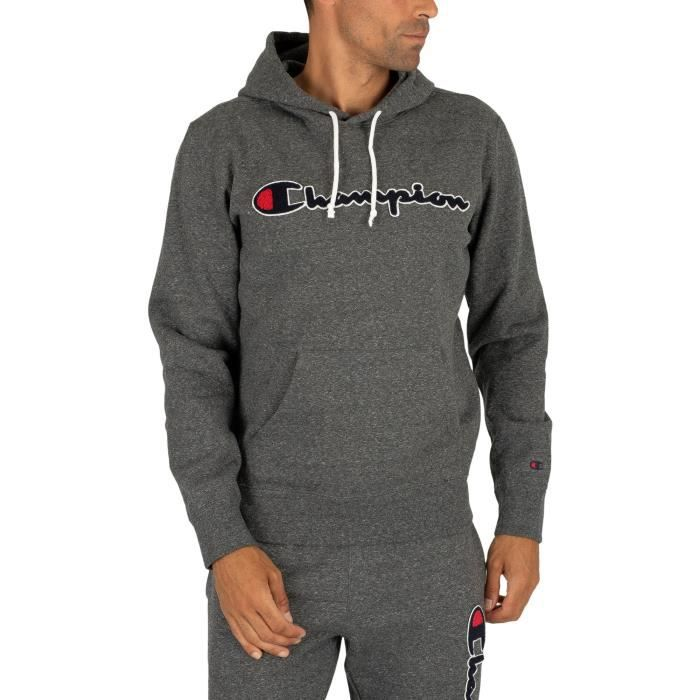 Champion Homme Sweat à capuche graphique, Gris
