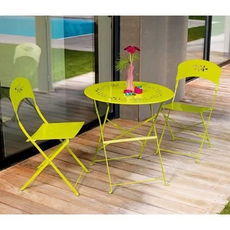 ensemble de jardin acier 2 places lime bistrot achat vente salon de jardin ensemble de. Black Bedroom Furniture Sets. Home Design Ideas