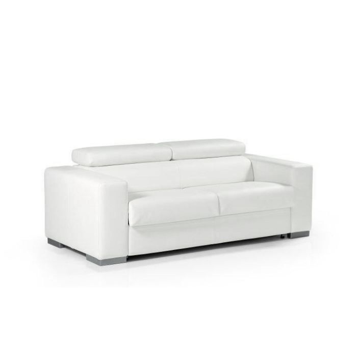 Canap convertible lit torino cuir recycl blanc achat for Canape lit deux places