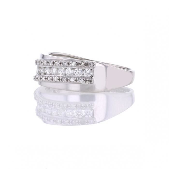 Bague Or blanc Or:2.94 Gr Diamant:0.50 Ct