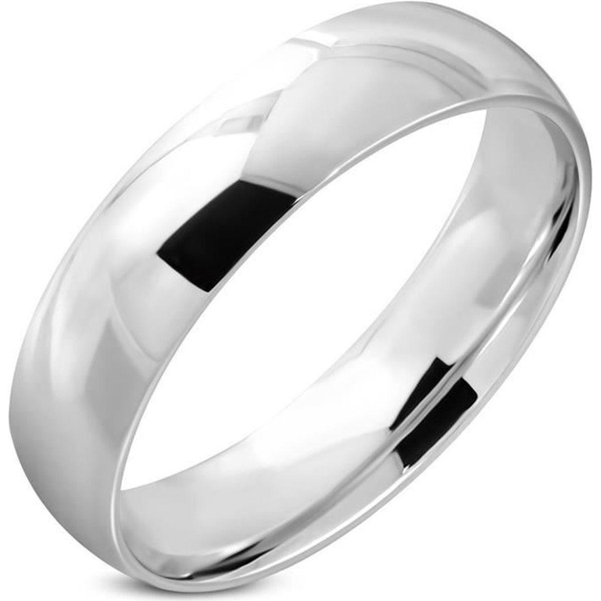 Bague femme anneau alliance tendance en acier 316L brillant