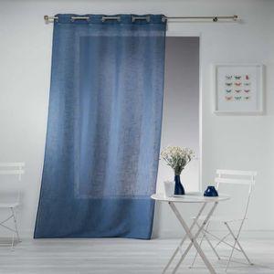 RIDEAU Rideau Effet Lin Haltonas bleu 140x240cm